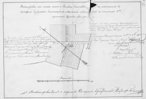 Выкипировка плана части г. Рославля из чертежной Губернского Землемера с показанием предполагаемой к постройке 3-х престольной церкви